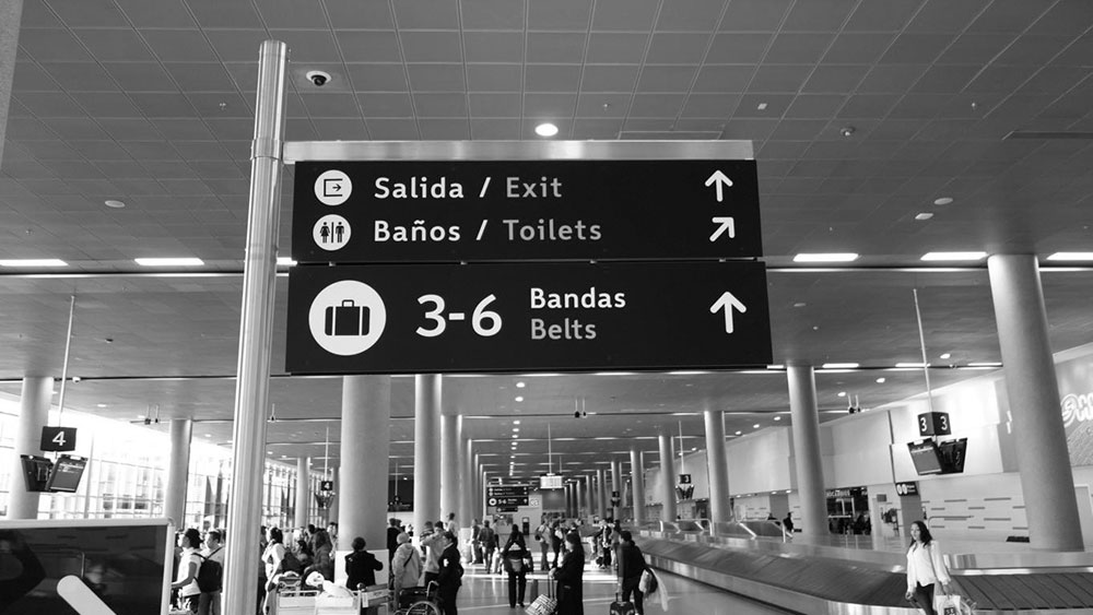 My typeface Wayfinding Sans Pro in use at the International Airport Bogotá